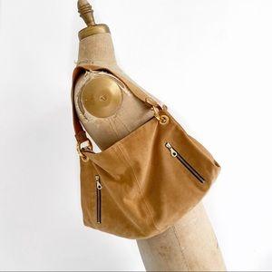 CHRISTOPHER KON camel suede slouchy shoulder bag.